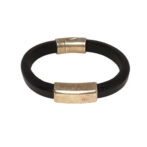 thicker leather cuff silver bar