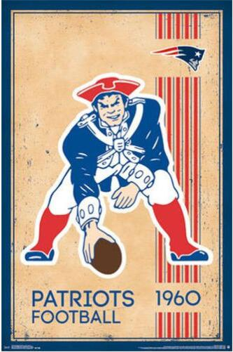 NEW ENGLAND PATRIOTS - RETRO LOGO SILK POSTER!