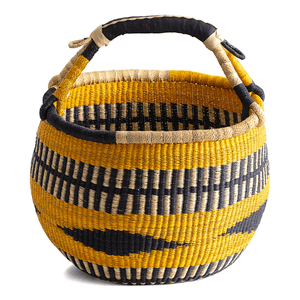 Large round basket from Bolgatanga; in gold, blue and natural colors