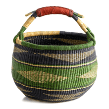 Load image into Gallery viewer, Large round basket from Bolgatanga, with green color