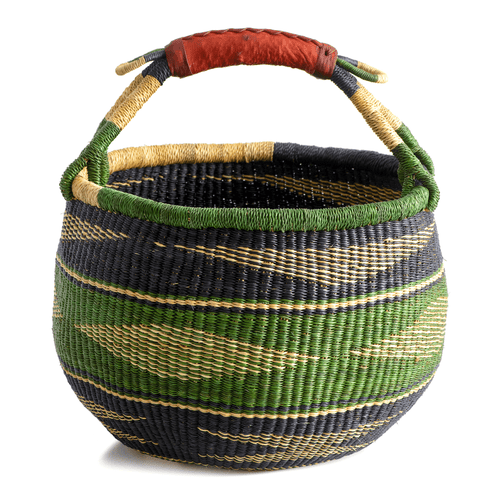 Large round basket from Bolgatanga, with green color