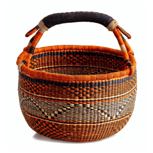 Medium round basket from Bolgatanga, with pumpkin orange color