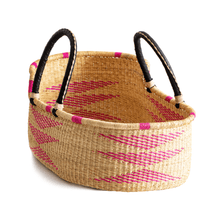 Load image into Gallery viewer, Moses basket for newborn, in hot pink and natural colors