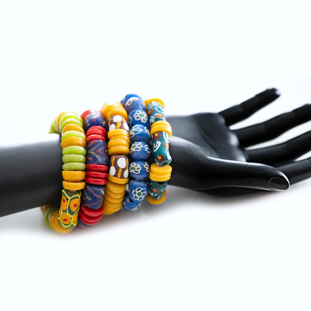 Fun and colorful recycled bead bracelets