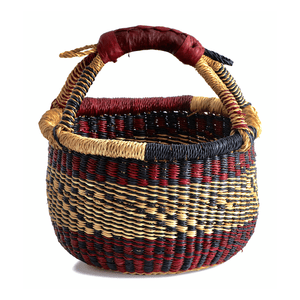 Small round basket from Bolgatanga, with merlot red color