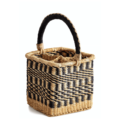 Woven wine caddy, holds four bottles; in blue and natural colors, mixed pattern