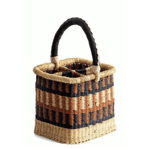 Woven wine caddy, holds four bottles; in brown, blue and natural colors
