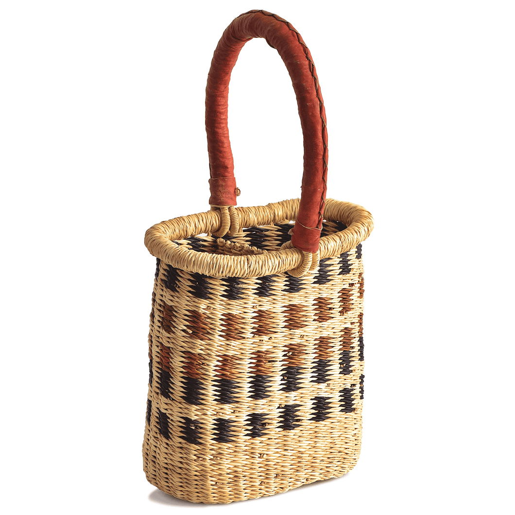 Woven wine caddy, holds two bottles; in brown, blue and natural colors