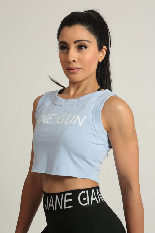 Light Blue Cropped Sleeveless Top - Jane Gun