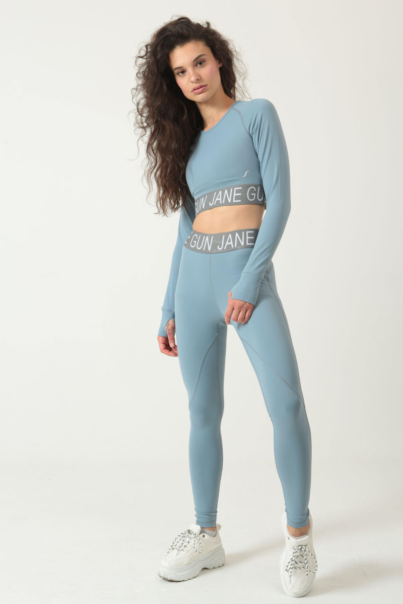 Stone Blue Legging and Longsleeve Top Set - Jane Gun