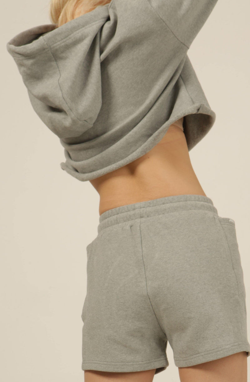 Silver Grey Fleece Cropped Distressed Hoodie