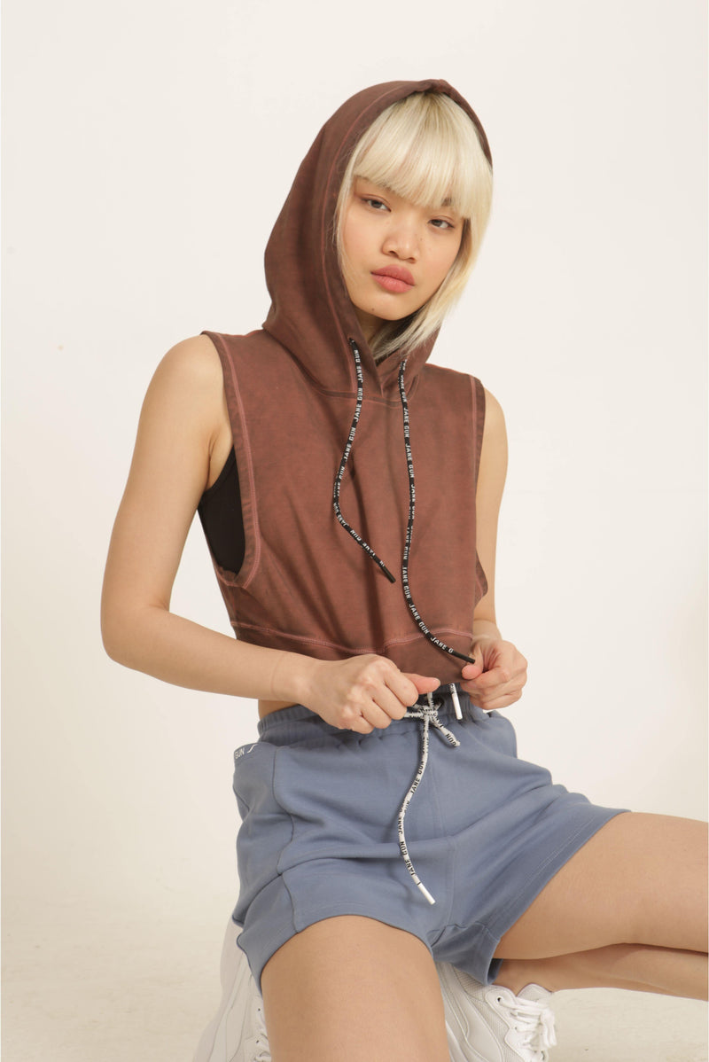 Shabby Washed Red Sleeveless Hoodie - JANE GUN™