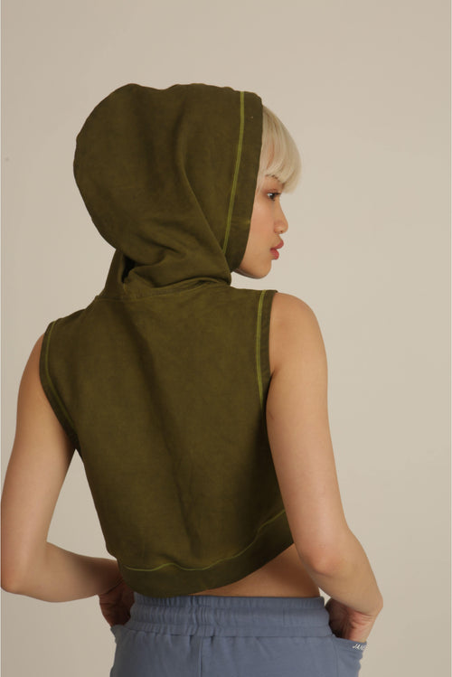 Shabby Washed Khaki Green Sleeveless Hoodie