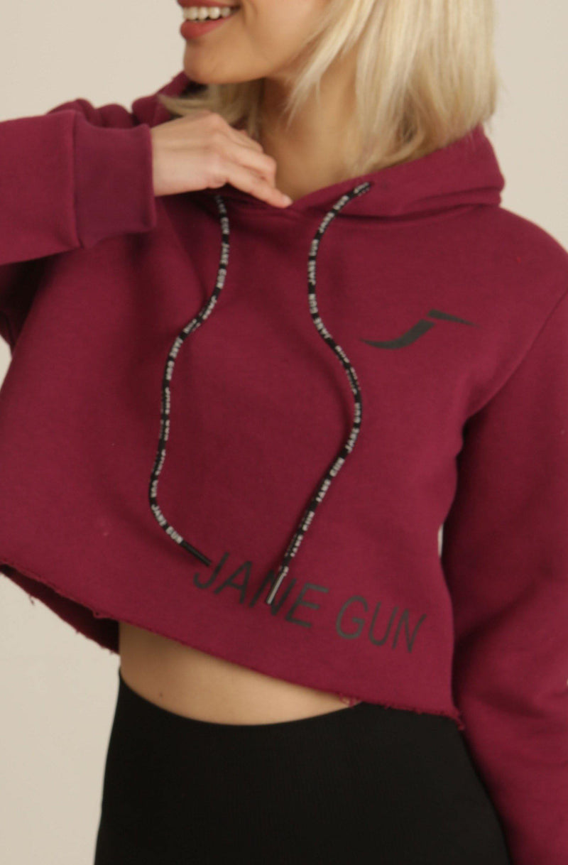 Burgundy Fleece Cropped Training Hoodie