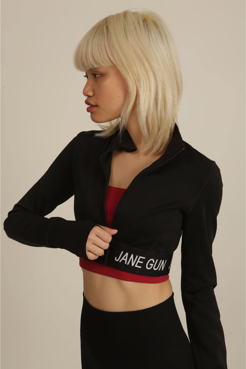 Black Cropped Training Zip Up Jacket