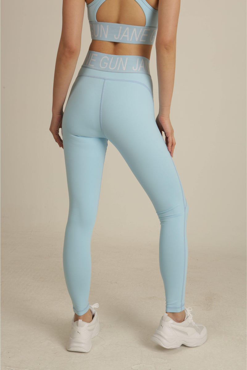 Sky Blue Logo Band High Waist Leggings