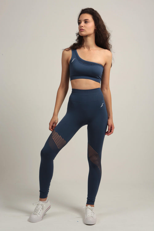 Navy Blue Seamless Diagonal Mesh Legging - Jane Gun