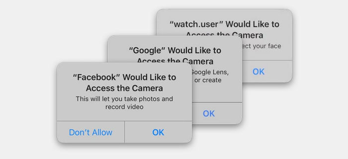 app asking camera permission to access the camera