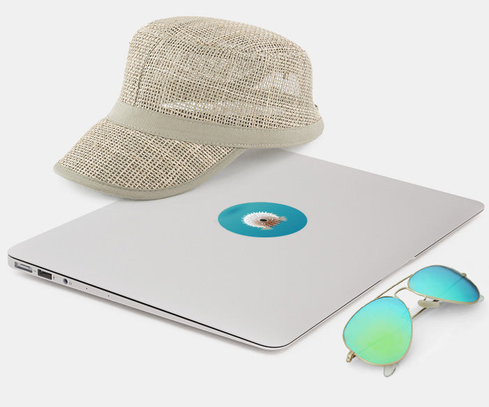 macbook with glowing decal, sunglasses and cap