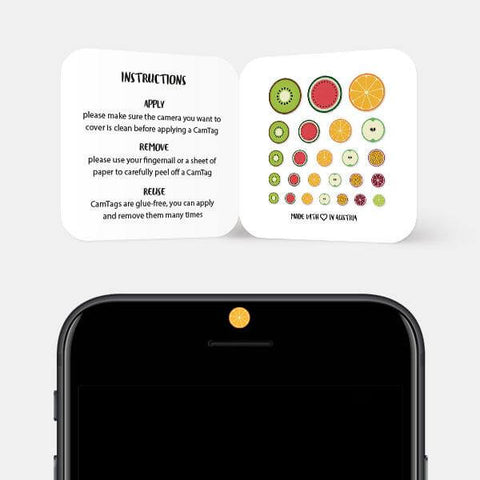 """fruit set"" reusable privacy sticker set on phone by tabtag"