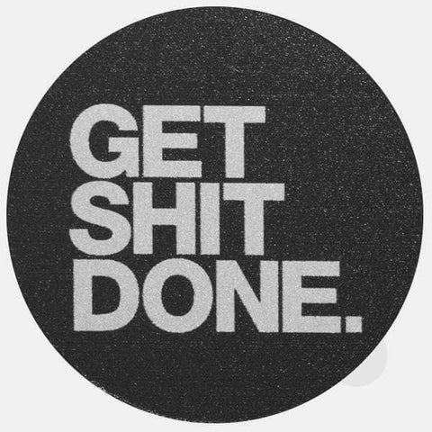 "silver ""get shit done"" reusable macbook sticker by tabtag"