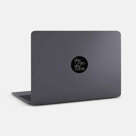 "opaque ""stay hungry stay foolish"" reusable macbook sticker on a mac by tabtag"