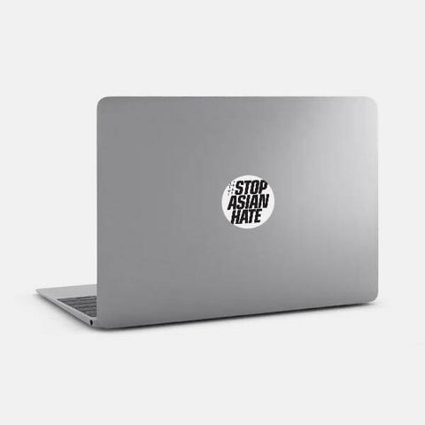 "opaque ""Stop Asian Hate"" reusable macbook sticker on a laptop by tabtag"