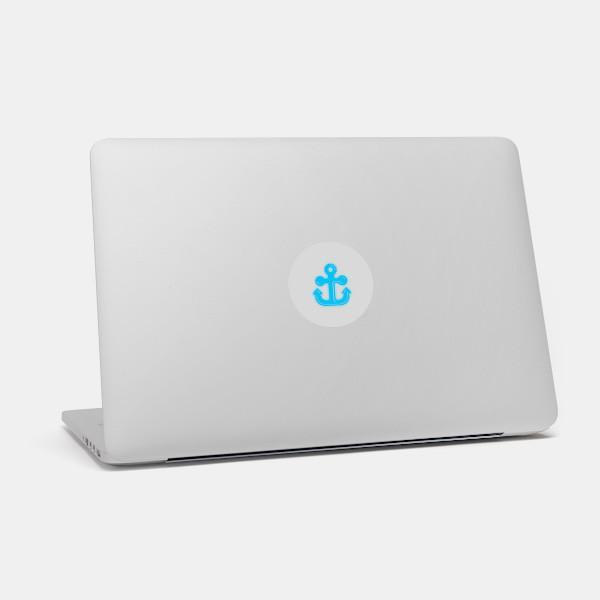 """anchor"" macbook sticker glowing on a mac by tabtag"