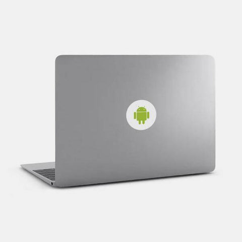 "opaque white ""android"" macbook sticker on a mac by tabtag"