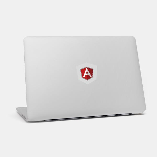 """angular"" macbook sticker glowing on a mac by tabtag"