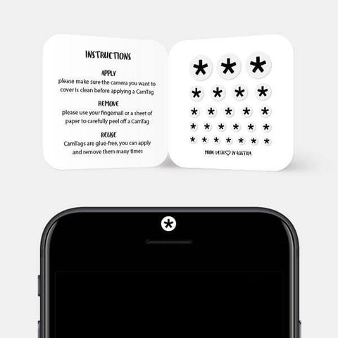 """asterisk"" reusable privacy sticker set on phone by tabtag"