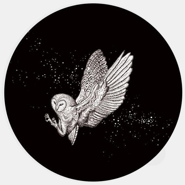 """barn owl"" glowing macbook sticker by tabtag"