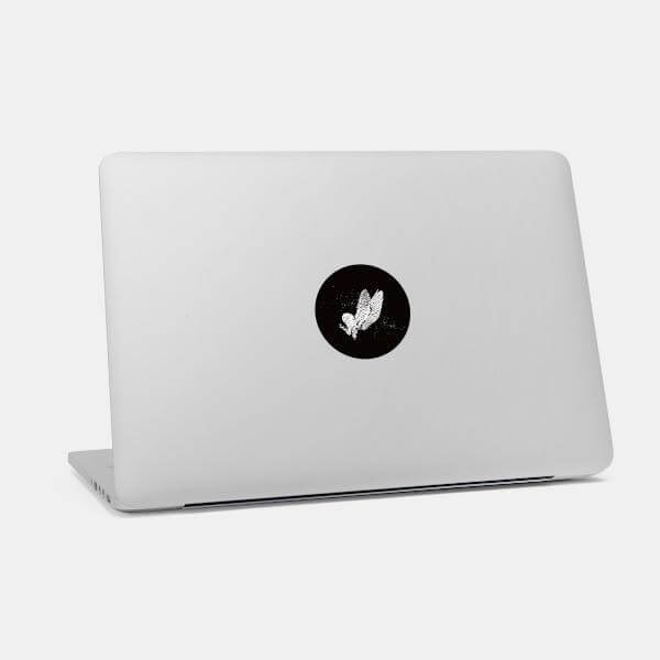 """barn owl"" macbook sticker glowing on a mac by tabtag"