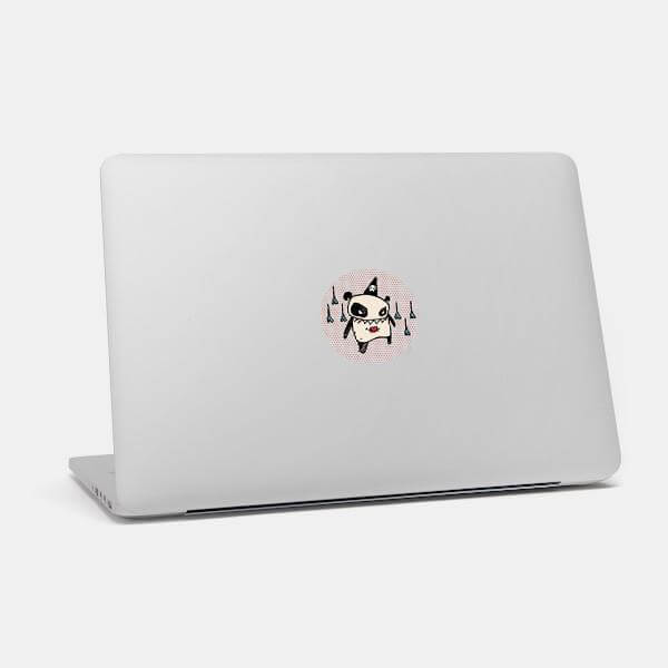 """bazooka"" macbook sticker glowing on a mac by tabtag"