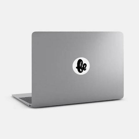 "opaque ""be"" reusable macbook sticker on a laptop by tabtag"