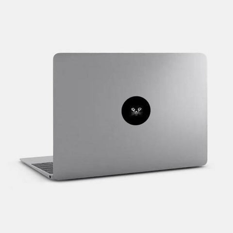 "opaque round ""black cat"" reusable macbook sticker on a mac by tabtag"