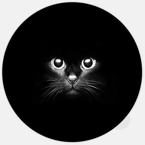"round glowing ""black cat"" macbook sticker by tabtag"