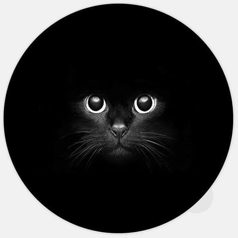 "round ""black cat"" glowing macbook sticker by tabtag"