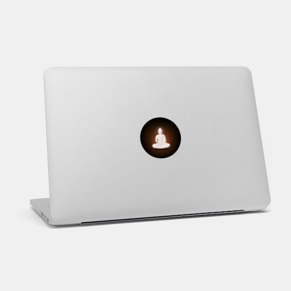 """buddha"" macbook sticker glowing on a mac by tabtag"