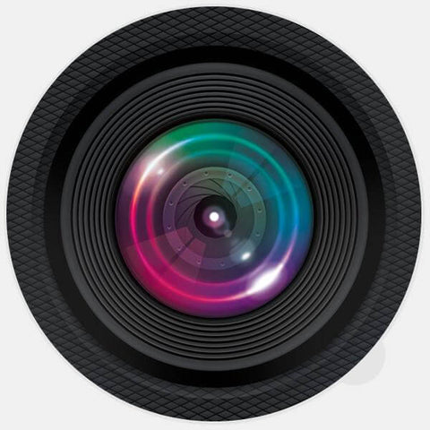 "round ""camera"" glowing macbook sticker by tabtag"