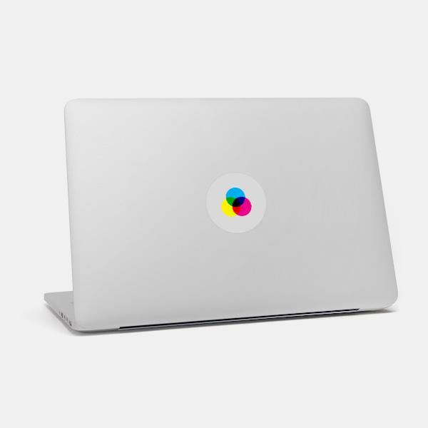 """cmyk"" macbook sticker glowing on a mac by tabtag"
