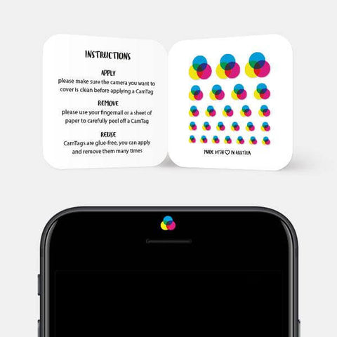 """cmyk"" reusable privacy sticker set on phone by tabtag"