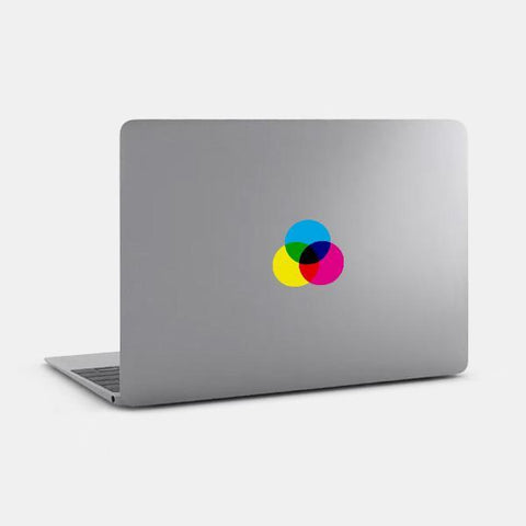 "opaque ""cmyk"" reusable macbook sticker on a mac by tabtag"
