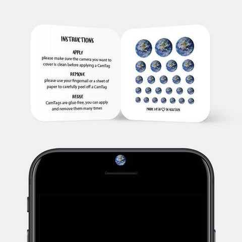 """earth"" reusable privacy sticker set on phone by tabtag"