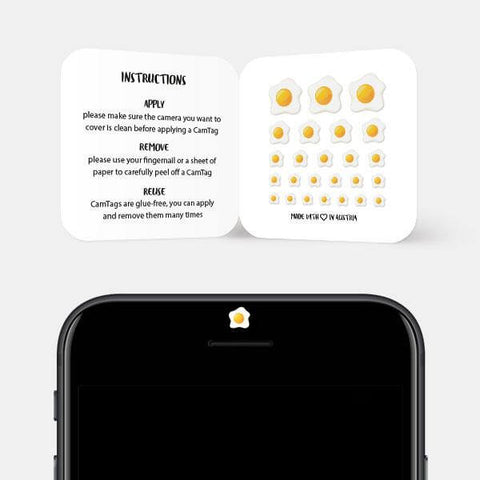 """egg sunny side up"" reusable privacy sticker set on phone by tabtag"