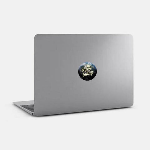 "opaque ""enjoy today"" reusable macbook sticker on a mac by tabtag"