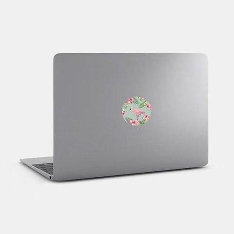 "opaque ""flamingo"" reusable macbook sticker on a mac by tabtag"