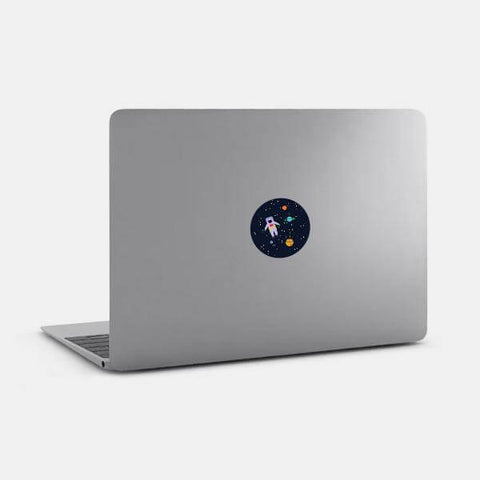 "opaque colorful ""get lost in space"" reusable macbook sticker on a mac by tabtag"