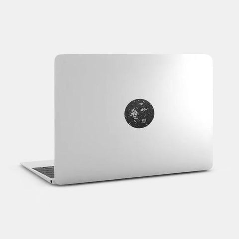 "silver ""get lost in space"" reusable macbook sticker on a mac by tabtag"