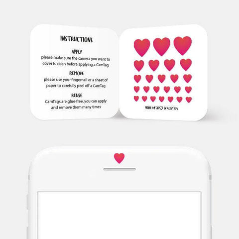 """heart"" reusable privacy sticker set on phone by tabtag"